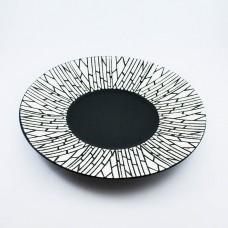 """Тарелка круглая матово-глянцевая с рисунком """"белый бамбук"""" 12"""" (30,5см)"""
