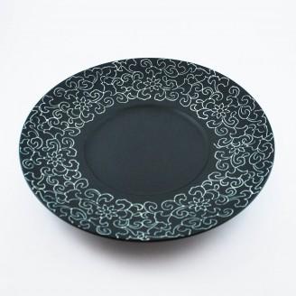 """Тарелка круглая черная матовая с узором 10"""" (25,4см)"""
