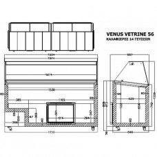 Витрина для твердого мороженого Crystal Venus Vetrine 56